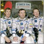Expedition 1 crew : (from left)  Sergei Krikalev, Yuri Gidzenko and Bill Shepherd. Image courtesy of NASA.